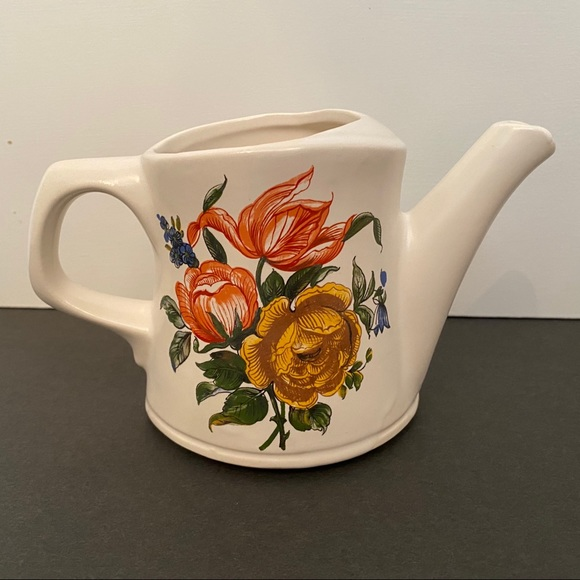 McCOY POTTERY WATERING CAN PLANTER WHITE FLORAL